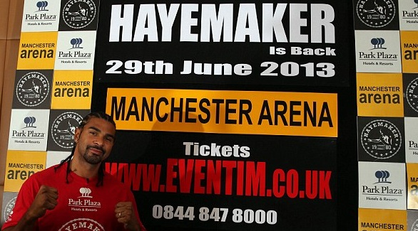 David Haye fight in June 2013 In Manchester Arena