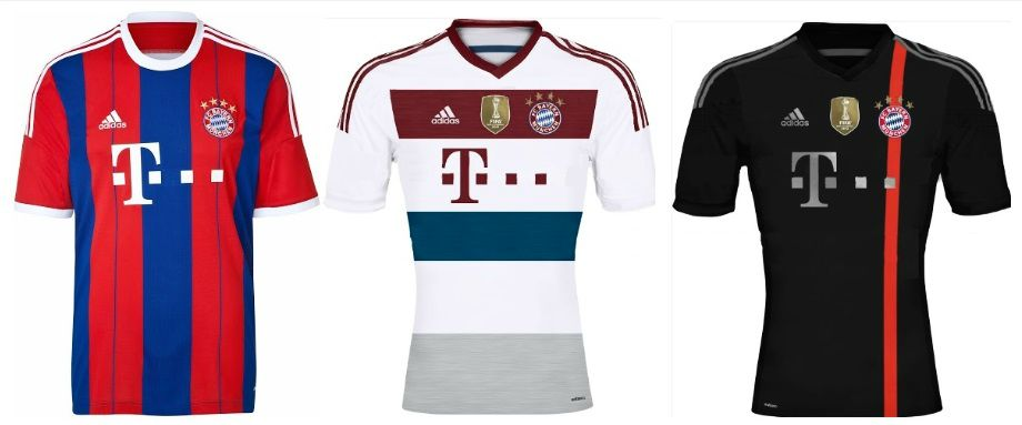 Bayern Munich 2014-15 home away third kits
