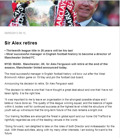 Sir Alex Ferguson has left the club Manchester United