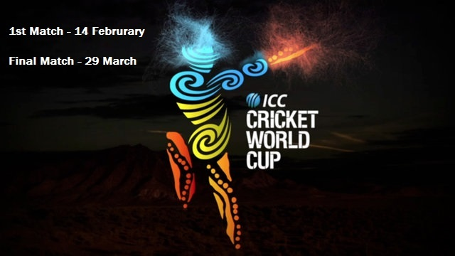 ICC Cricket World Cup 2015 Match Schedule and Time Table