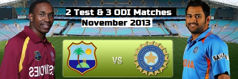 west indies tour of India Schedule