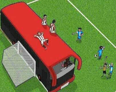 Football parking the bus
