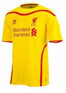 liverpool 2014-2014 yellow away kit