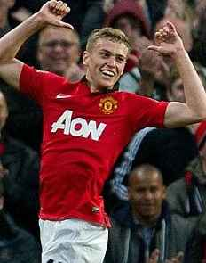 James Wilson 2 goals on debut for manchester united