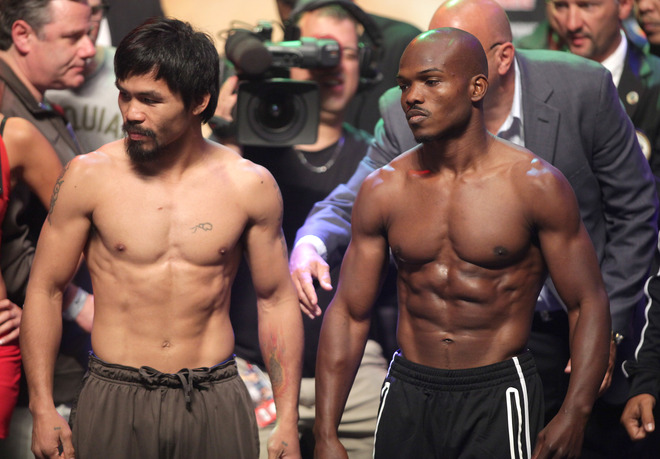 Boxers Manny Pacquiao (L) and Timothy Br