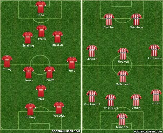 Man utd vs sunderland lineups predictions
