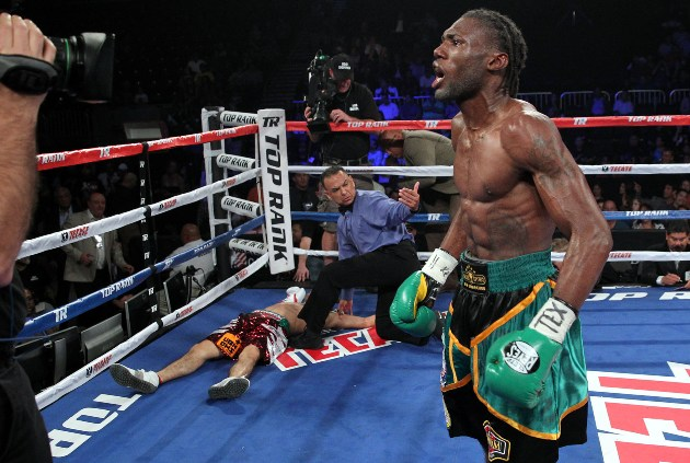 Nov. 9, 2013, Corpus Christi, Texas  --- WBA Featherweight champion Nicholas Walters knocks out Alberto Garza of Mexico  in the 4th round,Saturday, November 9.   at the American Bank Center in Corpus Christi, Texas.  --- Photo Credit : Chris Farina - Top Rank (no other credit allowed) copyright 2013