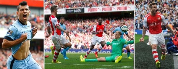 Arsenal 2-2 Manchester City Highlights 2014-15 premier league