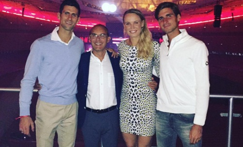 Wozniacki shared a picture on her Instagram account alongside Djokovic brothers