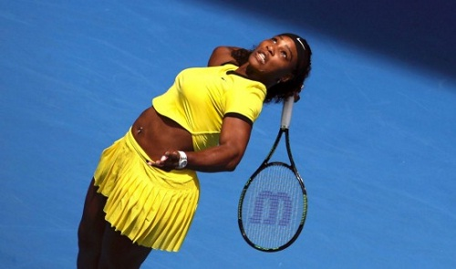 7c5065b1894b 1 Serena Williams created a stir at the Australian Open after she entered  the court wearing an unusual outfit – a neon yellow combination of crop top  and ...