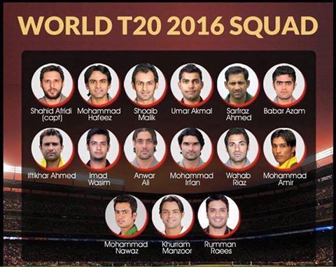 Pakistan Cricket team and Team Squad of T20 World Cup 2016