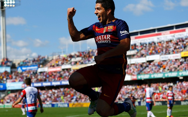 Barcelona's Luis Suarez celebrates his goal