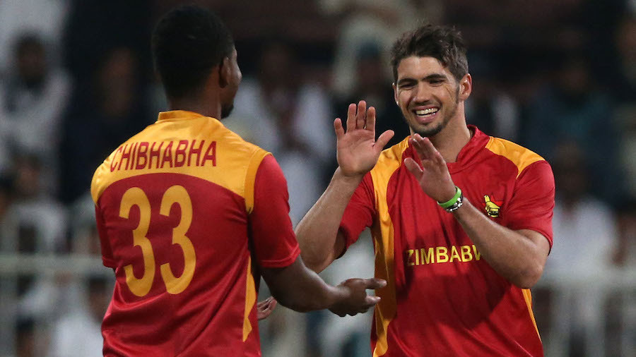 Pic by Chris Whiteoak/whiteoakpictures Cricket: Afghanistan v Zimbabwe. 2nd T20 International. Sharjah cricket stadium, Sharjah, UAE. Afghanistan's Usman Ghani is bowled by Zimbabwe's Graeme Cremer   © Picture Copyright >> Christopher Whiteoak  >> 0558117530