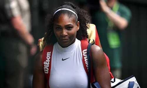 Serena Williams walks off the court after her win (credits: The Guardian)