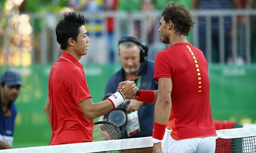 Nishikori (L) and Nadal after the match (courtesy: rio2016.com)