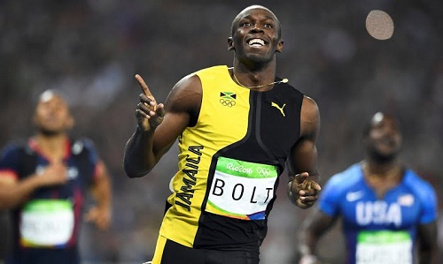 Bolt reacts after his win (courtesy: rio2016.com)