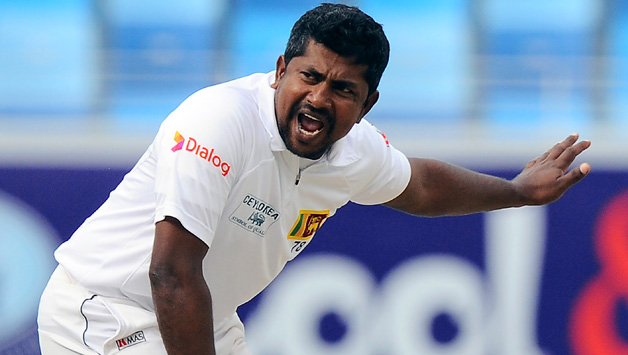 Sri Lankan bowler Rangana Herath unsuccessfully appeals for a Leg Before Wicket (LBW) decision against Pakistan batsman Sarfraz Ahmed during the fourth day of the second cricket Test match between Pakistan andSri Lanka at the Dubai International Cricket Stadium in Dubai on January 11, 2014.  AFP PHOTO/Ishara S. KODIKARA