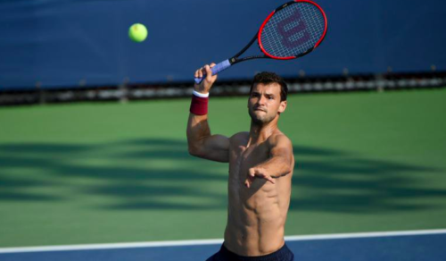 WATCH: Grigor Dimitrov rips apart his t-shirt, opponent Andrey Rublev fails - TSM PLUG