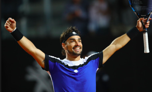 Watch Fabio Fognini DROPS racket and still wins set point
